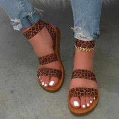 Sandals For Sale, Cute Sandals, Flat Sandals, Wedge Shoes, Leopard Sandals, Brown Sandals, Gucci Sneakers Outfit, Summer Flats, Aesthetic Shoes