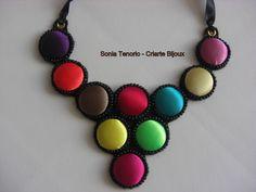 Colar de Botões Coloridos | Sonia Tenorio - Criarte Bijoux | Elo7