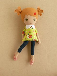 Fabric Doll Rag Doll Blond Haired Girl in Green and by rovingovine