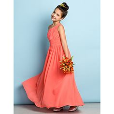 For Eva, can get in ivory or any color Ankle-length Chiffon Junior Bridesmaid Dress - Watermelon A-line One Shoulder – USD $ 59.99