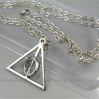 Harry Potter Necklace,Deathly Hallows Necklace,with a Rotating Center,Stainless steel Chain,Middle Circle Can Spin #deathlyhallows #jewlery #geek