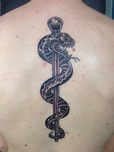 Rod of Asclepius idea for a new tat on the chest Caduceus Tattoo, Mark Tattoo, Paramedic Quotes, Knuckle Tattoos, Tatoos, Tatting, Body Art, Medical, Dna Tattoo