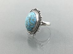 Vintage Turquoise Sterling Ring Blue Stone Turquoise Ring. Size 6.5. Bohemian Rings Lacey Sterling Ring. Mexico Sterling Ring by TheOldJunkTrunk