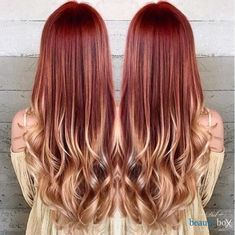 red to blonde ombre balayage Blond Ombre, Red To Blonde, Red Ombre, Gold Blonde, Brown Blonde, Blonde Color, Brown Hair, Auburn Balayage, Balayage Hair