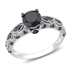 Miadora 10k White Gold 1 1/4ct TDW Black Diamond Ring | Overstock.com Shopping - The Best Deals on Diamond