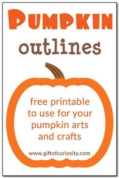 Free printable pumpkin outlines in three sizes to use for all your pumpkin arts and crafts. Free printable pumpkin outlines in three sizes to use for all your pumpkin arts and crafts. Halloween Activities, Autumn Activities, Preschool Halloween, Pumpkin Printable, Pumpkin Templates Free Printable, Halloween Printable, Free Printables, Fall Preschool, Preschool Ideas