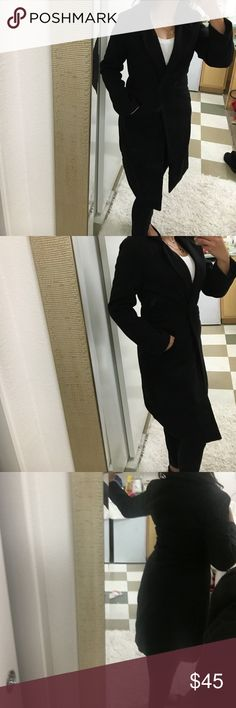 """Black Wool Peacoat Duster Coat Brand new with tags. This would fit small or extra small. Very fitted and tailored. Great coat for this winter. I am 5""""3 and this hits right below my knees. Very soft and warm. Two front pockets and 2 front button closure. Not Zara. Zara Jackets & Coats Pea Coats"""