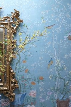 * This soft chinoiserie wallpaper is what I want to do in the family room.