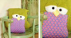 Fun Knitted Sleepy Owl Pillow [FREE Knitting Pattern]