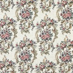 Ivory Coral and Green Dark Floral Tapestry Upholstery Fabric