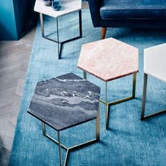 More than just a sidekick to a sofa, our Hex Side Table gives new meaning to multifaceted - its veined marble top makes each piece is subtly unique. Mix and match colours or place a few side by side to use as a coffee table in a larger honeycomb arrangement.