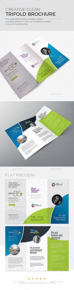 Clean #Tri-fold Brochure - #Corporate #Brochures