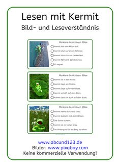 Short reading texts about Kermit the frog supported by pictures. Kermit, German Language, Grammar, Literacy, Texts, Teaching, School, Kids, Languages