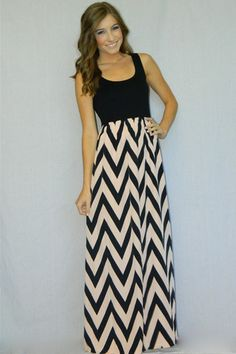 Cassidy Maxi Dress - I bet I could make this with a tank top and some cute chevron fabric...it can't be THAT hard, right?