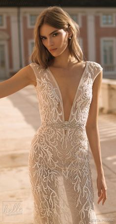 berta 2019 privee bridal cap sleeves deep v neck full embellishment sexy glamorous modified a line wedding dress low open back backless chapel train zv -- Berta Privée 2019 Wedding Dresses Sexy Wedding Dresses, Sexy Dresses, Sexy Outfits, Bridal Dresses, Wedding Gowns, Transparent Clothes, See Through Dress, Neue Trends, Dress Collection