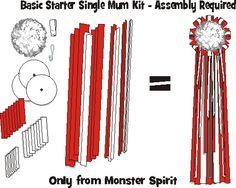 "Mum Kit - Basic Starter Mum Kit - 6"" Single Mum & 36"" Streamers. Easy to assemble. MonsterSpirit.com for homecoming mum and garter supplies."