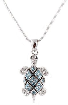 Silvertone with Light Blue Iced Out Turtle Pendant with an 18 Inch Snake Franco�