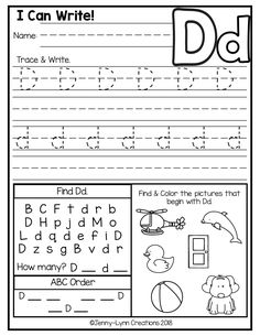 These Kindergarten level alphabet worksheets were designed to cover many kindergarten alphabet skills in one worksheets. This packet is perfect for both Common Core Standards and Individual State Standards. Letter D Worksheet, Printable Alphabet Worksheets, Letter Worksheets For Preschool, Writing Practice Worksheets, Free Kindergarten Worksheets, Preschool Writing, Phonics Worksheets, Preschool Letters, Tracing Worksheets