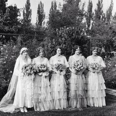 Chase (A. Smith) and her Bridesmaids, (Courtesy Utah State Historical Society) 1930s Wedding, Vintage Wedding Photos, Vintage Bridal, Wedding Bride, Vintage Weddings, Wedding Pictures, Wedding Gowns, Wedding Attire, Wedding Cake