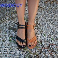 cab2e5b57629b Women Sandals Handmade Ankle Strap Gladiator Sandals Slides Summer Flat  Casual Summer Shoes Female Flat Sandals