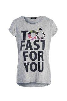 T-shirt oversize gris chiné imprimé