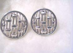 Signed Crown Trifari Earrings Open Metalwork Weave Lattice Round Clip-ons Silver #Trifari #Cuff
