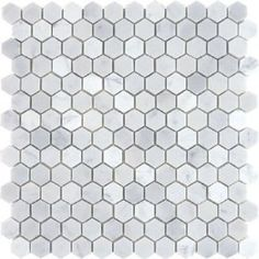 """(from amazon) BIANCO WHITE CARRARA MARBLE HEXAGON 1"""" POLISHED MOSAIC TILE  by Mnt Mosaics   $9.95"""