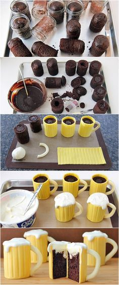 Chocolate Beer Mug Cakes.. I'm sorry, I look at these and all I can think of is pints of butterbeer from Harry Potter haha :)