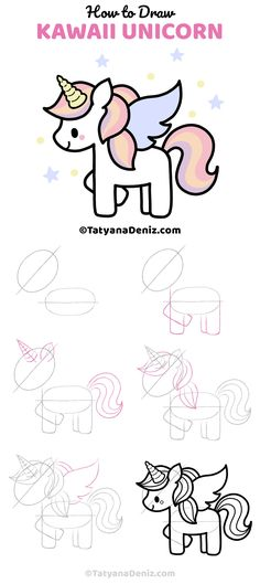 How to Draw Unicorn Step-by-step Drawing tutorial to draw a cute kawaii Unicorn easy and simple way Easy Drawing Tutorial, Easy Drawing Steps, Drawing Tutorials For Kids, Easy Drawings For Kids, Step By Step Drawing, Drawing For Kids, Drawing Ideas, Drawing Tips, Drawing Sketches