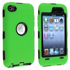 Amazon.com: eForCity Hybrid Case for Apple iPod touch 4G, Black/Green: MP3 Players & Accessories