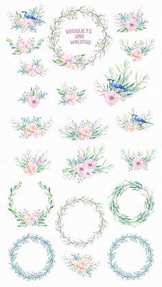 Watercolor Jay & Delicate Flowers by Spasibenko Art on @creativemarket