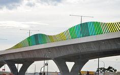 Image result for freeway sound barrier perspex Landscape Structure, Landscape Architecture, Landscape Design, Architecture Design, Parasitic Architecture, Sound Wall, Precast Concrete, Bridge Design, Wall Installation