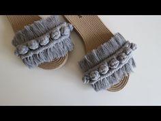 Makromeden topçuklu terlik eski terlikleri güzelleştirelim - YouTube Macrame Patterns, Crochet Patterns, Macrame Wall Hanging Diy, Macrame Projects, Crochet Shoes, Crochet Videos, Mason Jar Crafts, Creative Gifts, Boho Diy