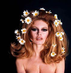 Vintage Brigitte Bardot Daisy flower crown hair ideas Toni Kami ⊱✿⊰ Flowers in her hair ⊱✿⊰