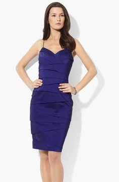 Lauren Ralph Lauren Asymmetrical Pleat Taffeta Sheath Dress available at #Nordstrom