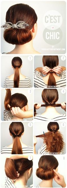 This is something we could easily do ourselves and have little accessories in the back -- we could even switch it up and have a side part pony tail/bangs out.