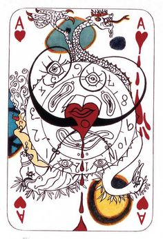 "ace of hearts I Salvador Dali, Spanish ""Playing Cards"", (M&L publ. Reese Palley, New York, lithographs printed in colours. L'art Salvador Dali, Dali Paintings, Ace Of Hearts, Art Carte, Art Et Illustration, Illustrations, Famous Artists, Moleskine, Tarot"