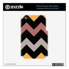 Bronze Silver and Gold on Black Decals For iPod Touch 4G - elegant gifts classic stylish gift idea diy style