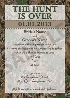 Mossy Oak Wedding Invitation - Hunting theme | Hunting themes, Mossy ...