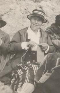 Unidentified woman knitting, possibly in Pebble Beach, California. 1916