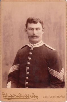 Cabinet Card photograph of a US military man by Blanchard of Los Angeles, California.