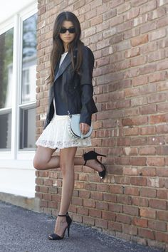 #blogger #fashionblog #fashionroll #luluslacedress #leatherjacket #rebeccaminkoffskylar