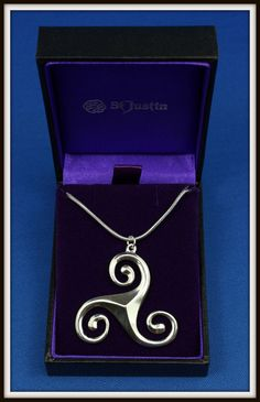 CELTIC TRISKELE TRIPLE SPIRAL PEWTER PENDANT NECKLACE ~ FROM ST. JUSTIN FREE P&P in Jewellery & Watches, Fine Jewellery, Fine Necklaces & Pendants | eBay