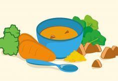 Papinha de carne, fubá, cenoura e couve