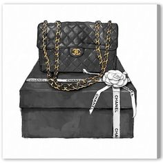 808c38431e0 Oliver Gal  Boxed Beauty  Canvas Art - Black (16 x 16) Fashion. Fashion  Illustration ChanelBag ...