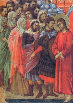 Duccio di Buoninsegna - Maestà - Retro - Pilato si lava le mani, dettaglio - 1308-11 - Tempera e oro su tavola - Museo dell'Opera del Duomo, Siena