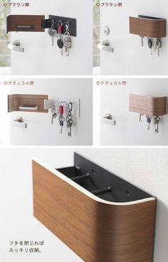 Wall key cabinet on the front door! A seal that helps you with the courier service … - Decor With Wood Modern Bedroom Design, Interior Design Living Room, Wood Furniture, Furniture Design, Key Cabinet, Small Space Storage, Key Hooks, Wooden Projects, Wardrobe Design