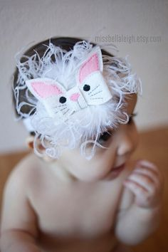 Fluffy Bunny Easter Headband Adorable Easter by MissBellaLeigh, $12.00