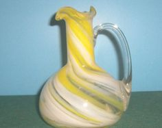Vintage Art Glass Swirled Cruet, daffodil yellow, freeblown, Mid Century Art Glass, 1950,1960