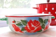Vintage rose enamel bowl
